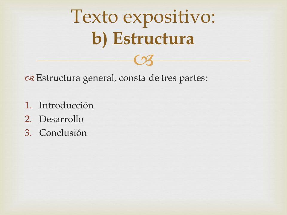 Texto expositivo: b) Estructura