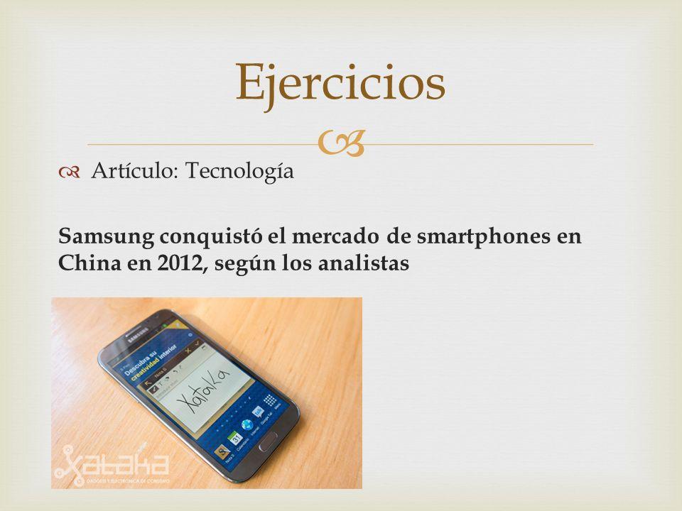 Ejercicios Artículo: Tecnología