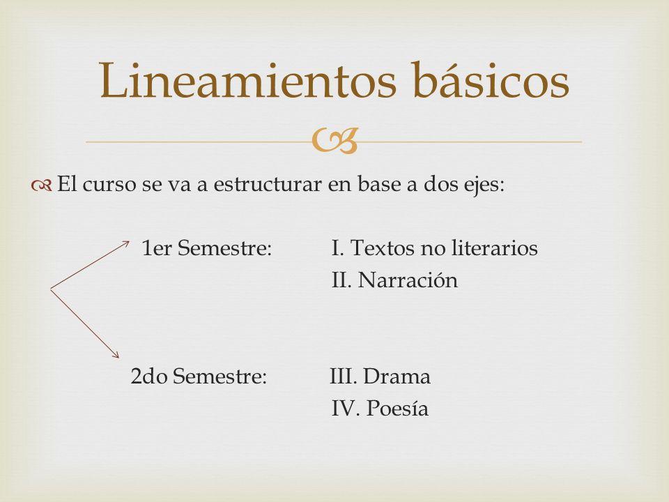 Lineamientos básicos El curso se va a estructurar en base a dos ejes: