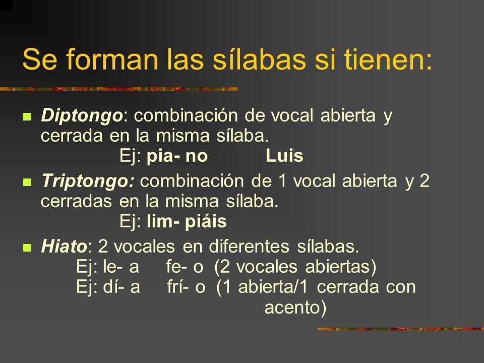 Se forman las sílabas si tienen: