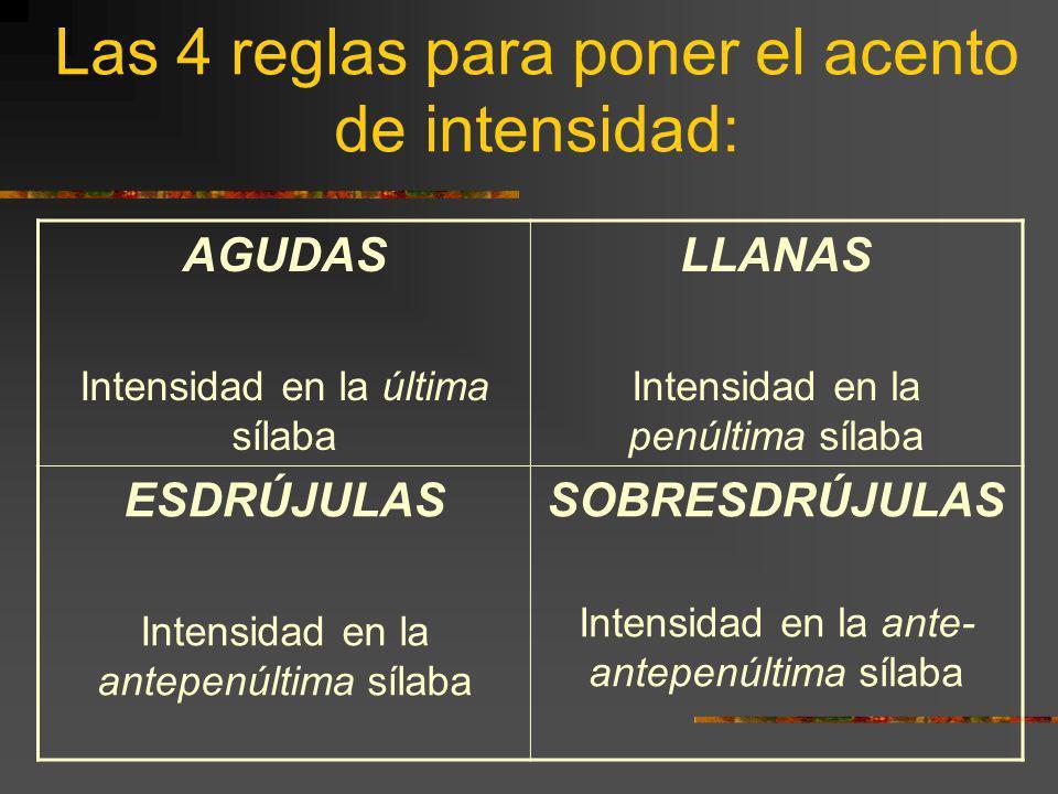 Las 4 reglas para poner el acento de intensidad: