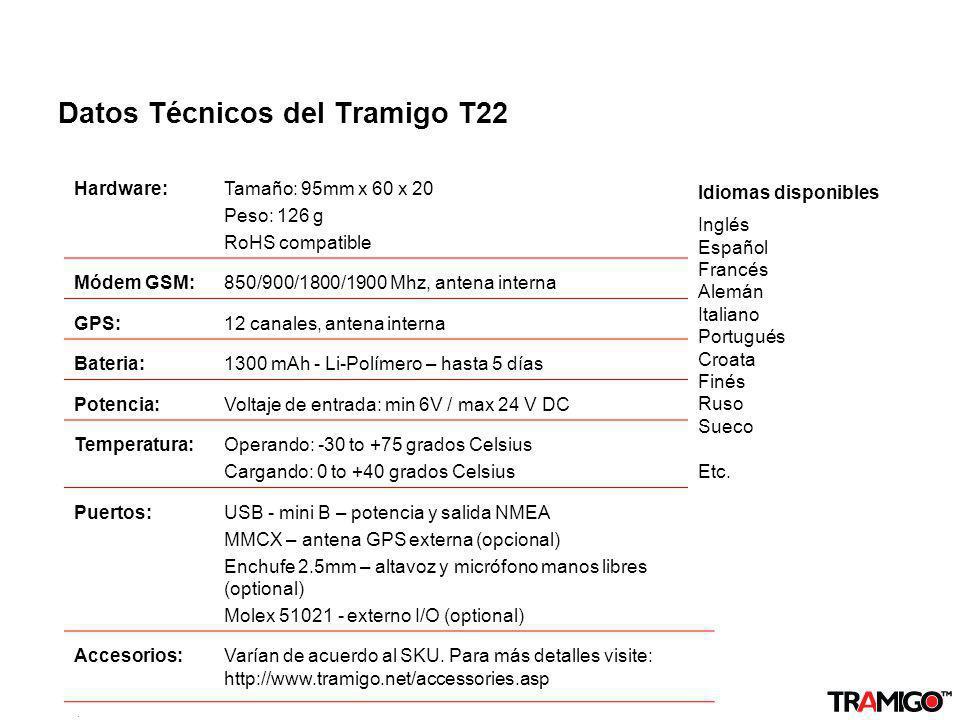 Datos Técnicos del Tramigo T22