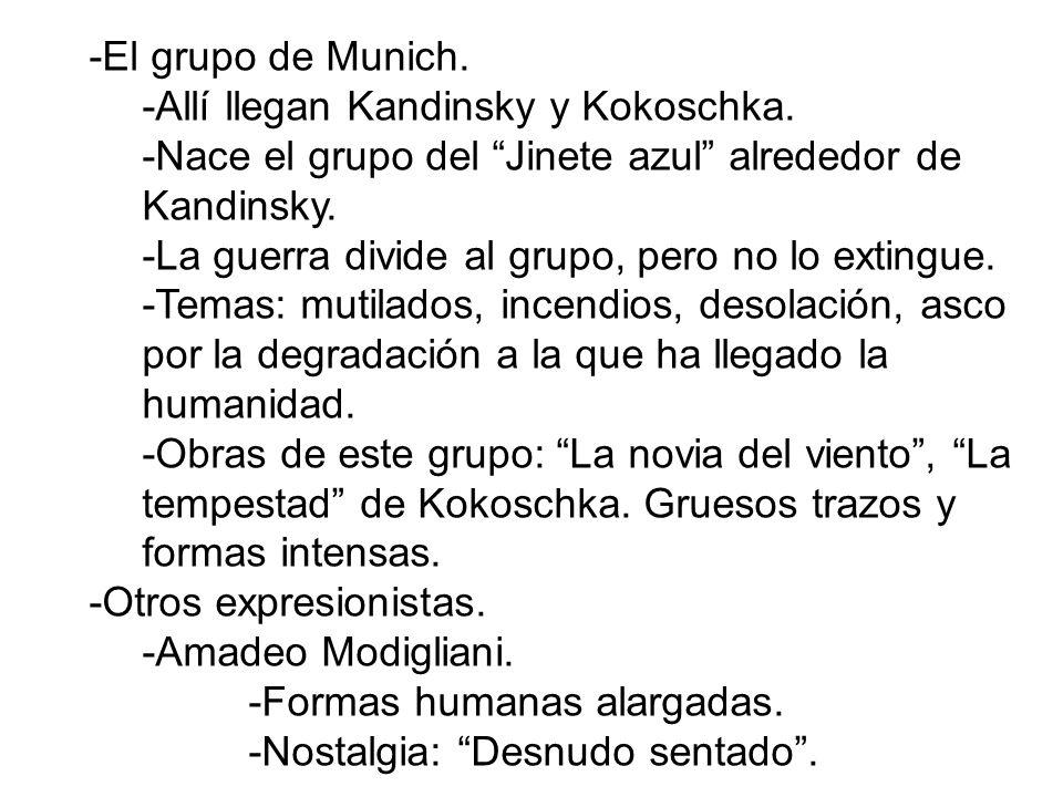 -El grupo de Munich. -Allí llegan Kandinsky y Kokoschka. -Nace el grupo del Jinete azul alrededor de Kandinsky.
