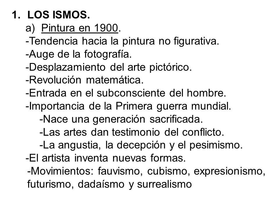 LOS ISMOS. Pintura en 1900. -Tendencia hacia la pintura no figurativa. -Auge de la fotografía. -Desplazamiento del arte pictórico.