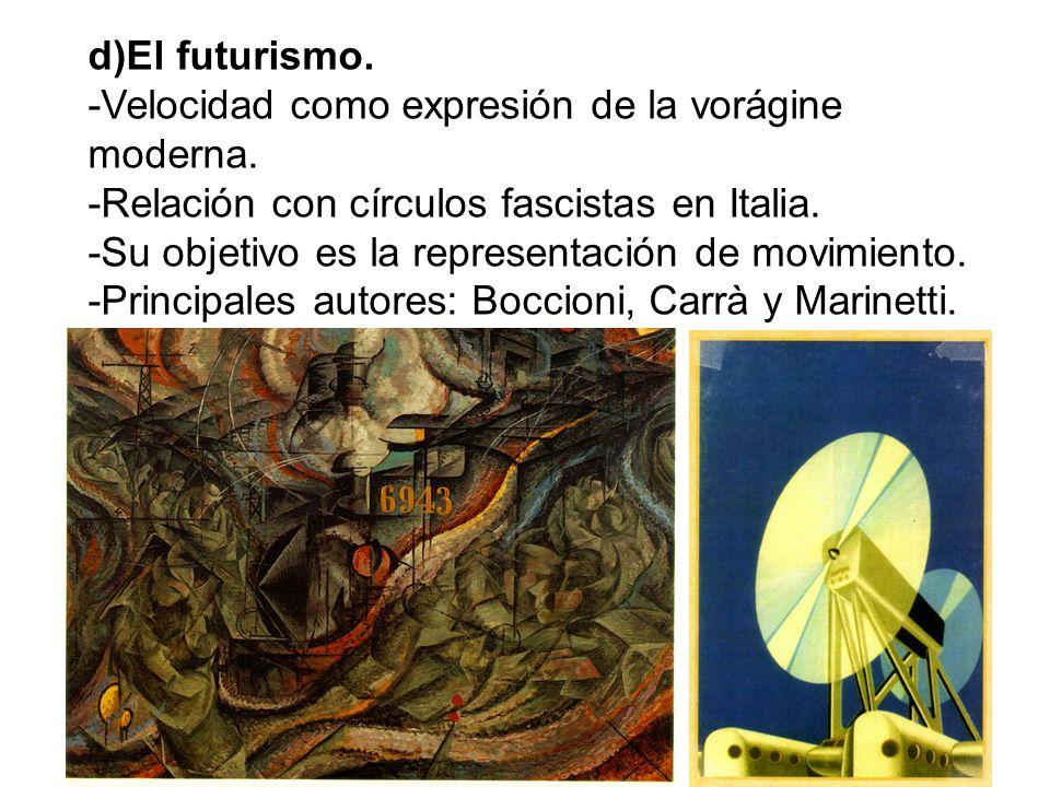 d)El futurismo. -Velocidad como expresión de la vorágine moderna. -Relación con círculos fascistas en Italia.