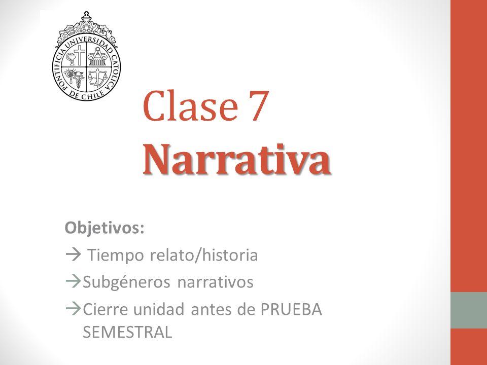 Clase 7 Narrativa Objetivos:  Tiempo relato/historia
