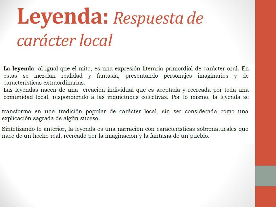 Leyenda: Respuesta de carácter local