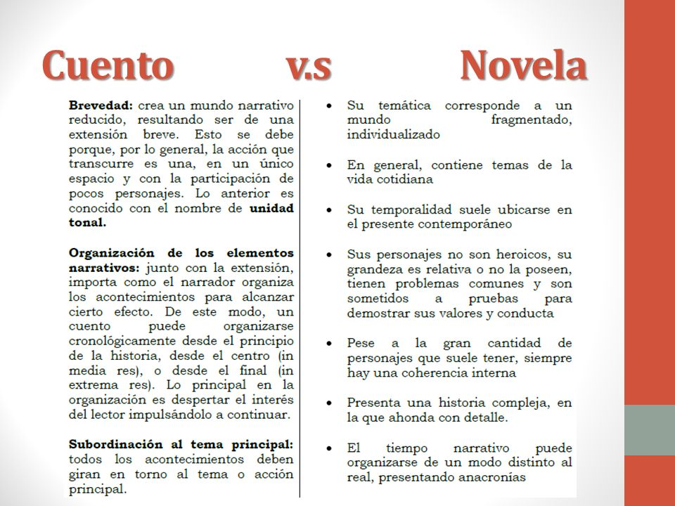 Cuento v.s Novela