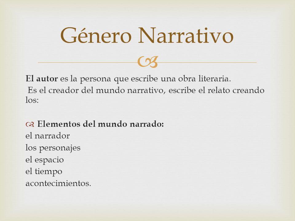 Género Narrativo El autor es la persona que escribe una obra literaria. Es el creador del mundo narrativo, escribe el relato creando los: