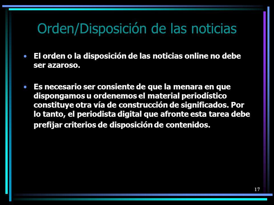 Orden/Disposición de las noticias