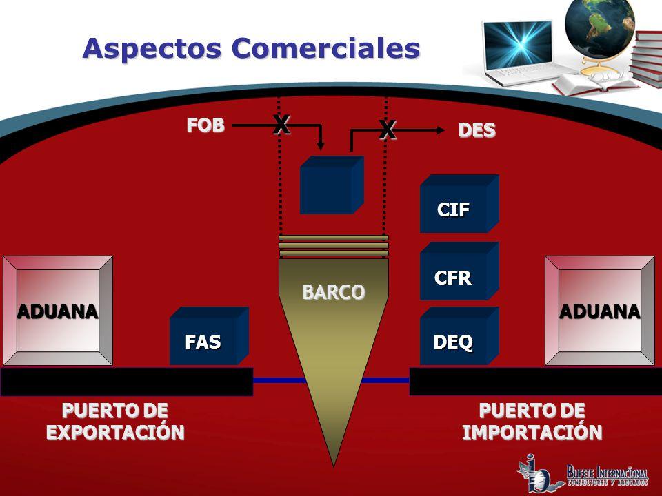 Aspectos Comerciales X X BARCO FOB DES CIF ADUANA CFR ADUANA FAS DEQ