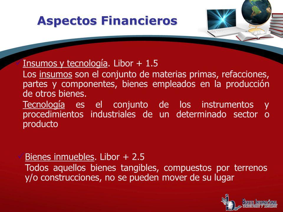 Aspectos Financieros Insumos y tecnología. Libor + 1.5