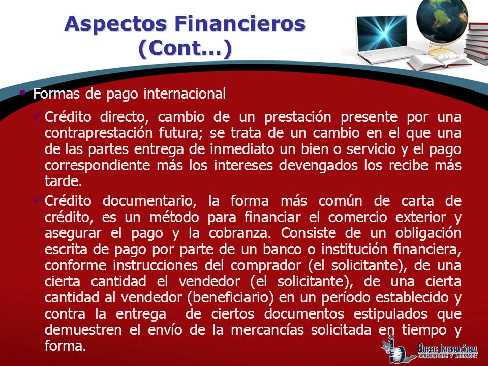 Aspectos Financieros (Cont…)