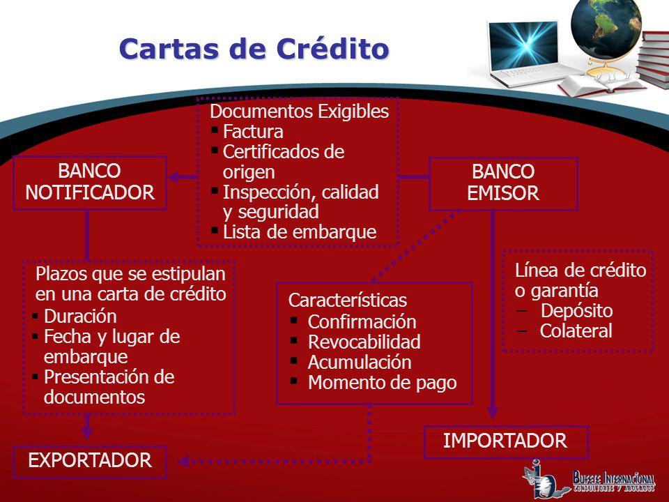 Cartas de Crédito BANCO NOTIFICADOR BANCO EMISOR IMPORTADOR EXPORTADOR