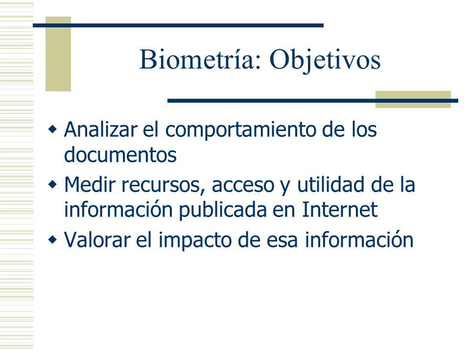 Biometría: Objetivos Analizar el comportamiento de los documentos