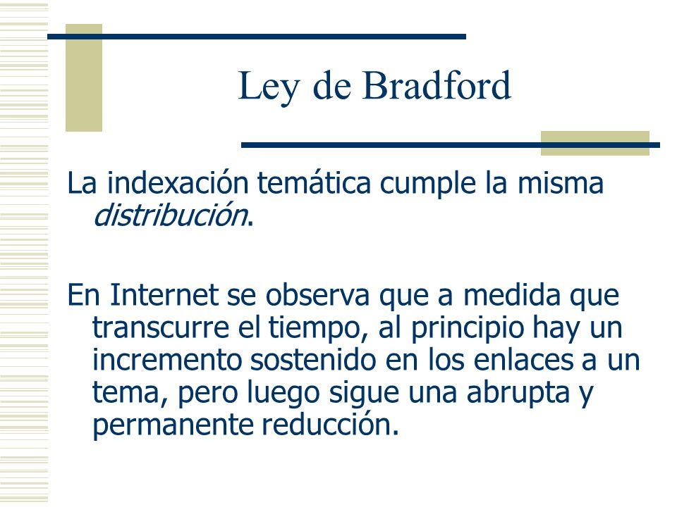 Ley de Bradford La indexación temática cumple la misma distribución.