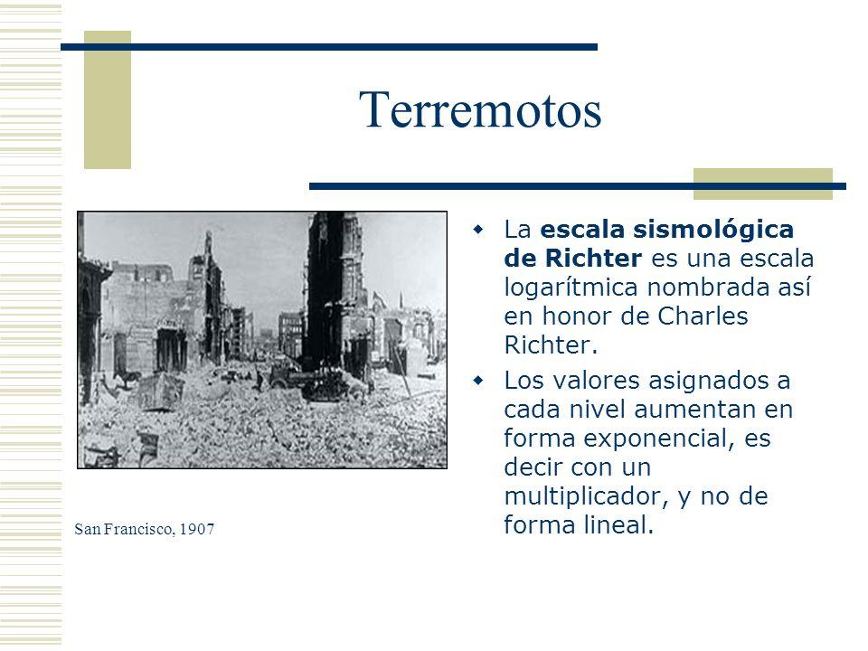 Terremotos La escala sismológica de Richter es una escala logarítmica nombrada así en honor de Charles Richter.
