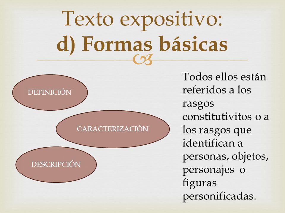 Texto expositivo: d) Formas básicas