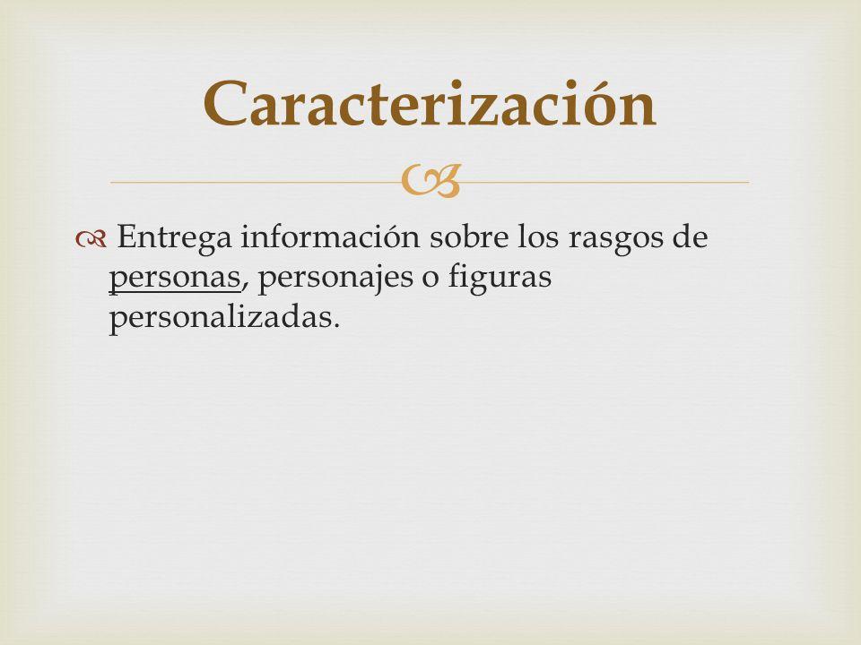 Caracterización Entrega información sobre los rasgos de personas, personajes o figuras personalizadas.