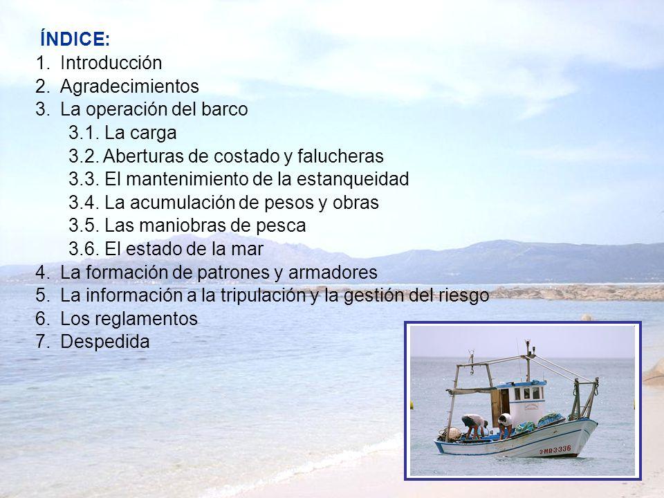 ÍNDICE: Introducción. Agradecimientos. La operación del barco. 3.1. La carga. 3.2. Aberturas de costado y falucheras.