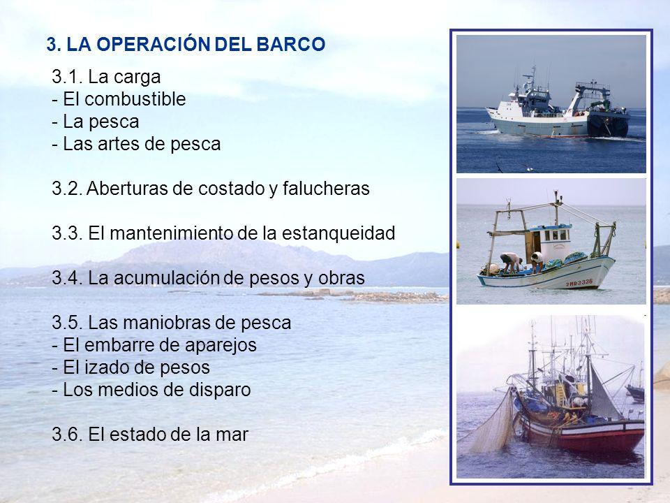 3. LA OPERACIÓN DEL BARCO 3.1. La carga. - El combustible. - La pesca. - Las artes de pesca. 3.2. Aberturas de costado y falucheras.