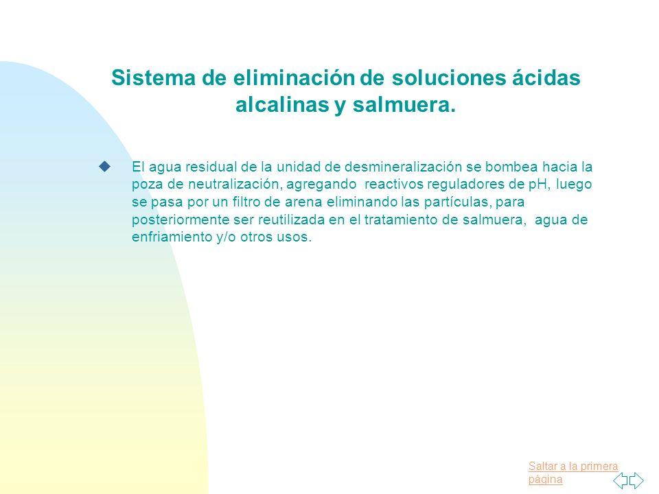 Sistema de eliminación de soluciones ácidas alcalinas y salmuera.
