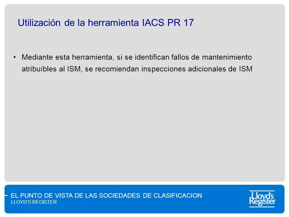 Utilización de la herramienta IACS PR 17