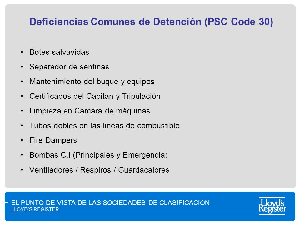 Deficiencias Comunes de Detención (PSC Code 30)