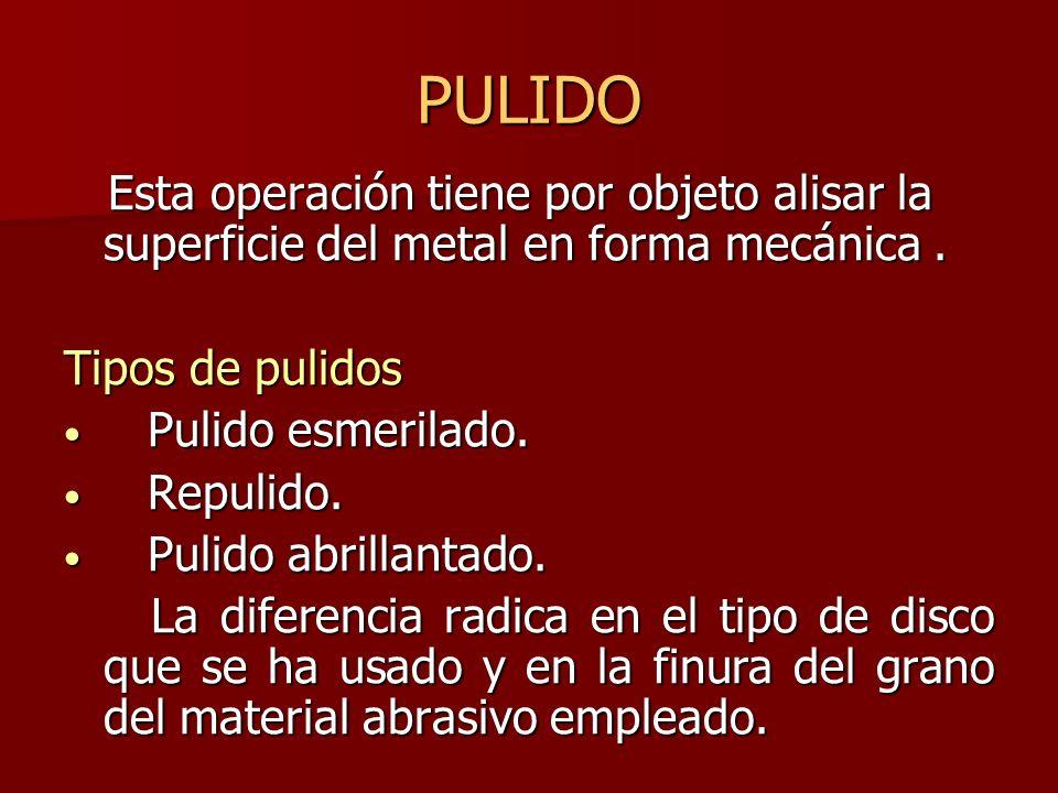 PULIDO Esta operación tiene por objeto alisar la superficie del metal en forma mecánica . Tipos de pulidos.