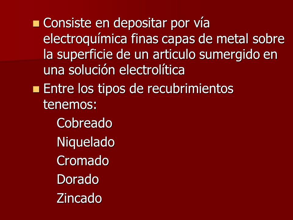 Consiste en depositar por vía electroquímica finas capas de metal sobre la superficie de un articulo sumergido en una solución electrolítica