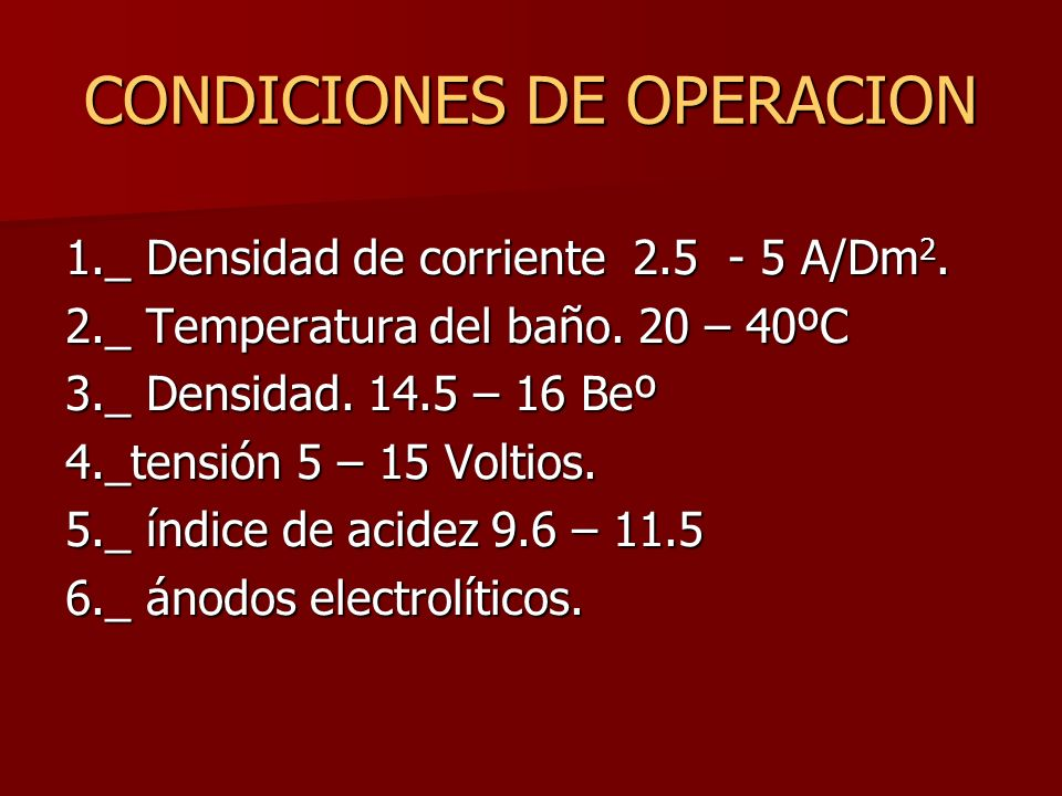 CONDICIONES DE OPERACION