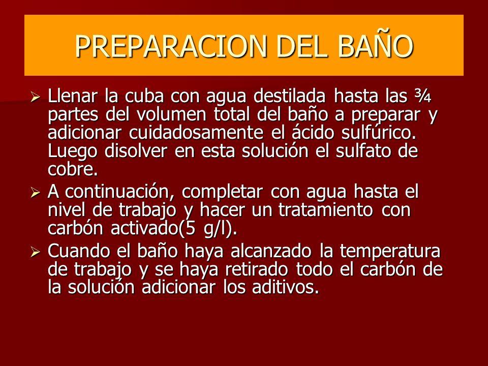PREPARACION DEL BAÑO