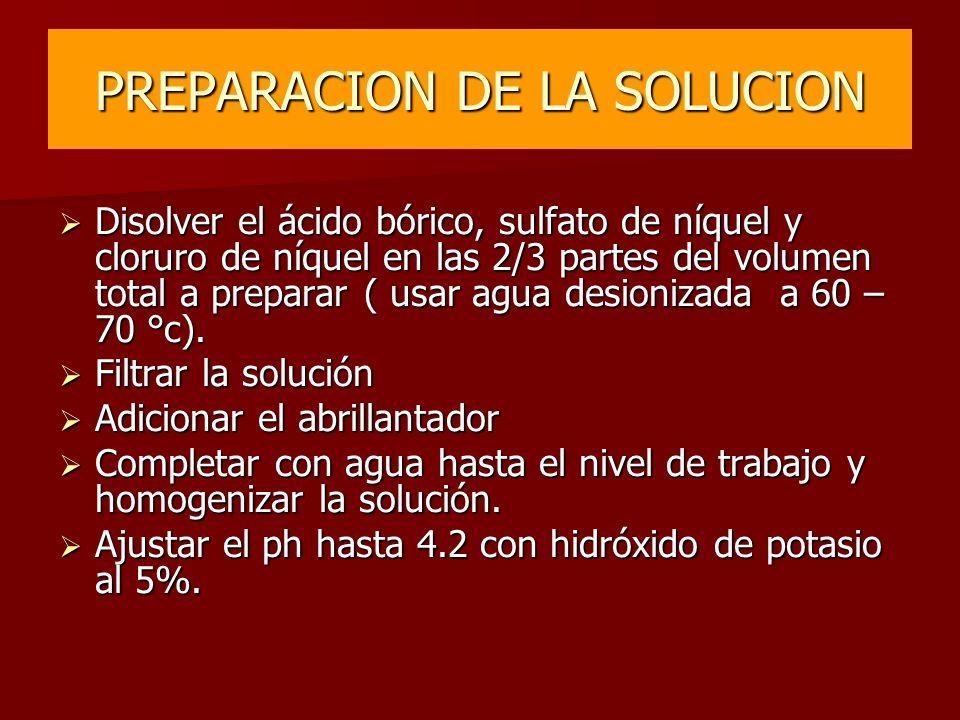 PREPARACION DE LA SOLUCION