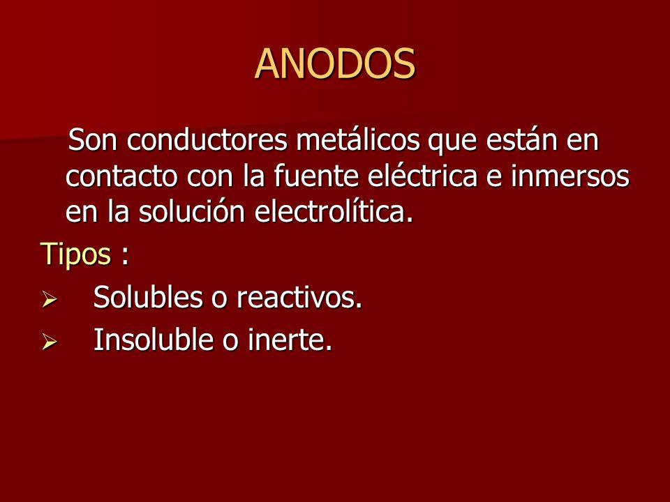ANODOS Son conductores metálicos que están en contacto con la fuente eléctrica e inmersos en la solución electrolítica.