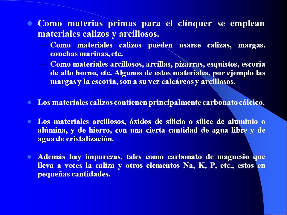 Como materias primas para el clínquer se emplean materiales calizos y arcillosos.