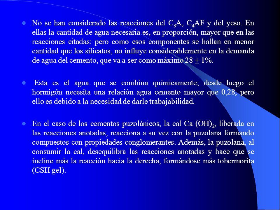 No se han considerado las reacciones del C3A, C4AF y del yeso