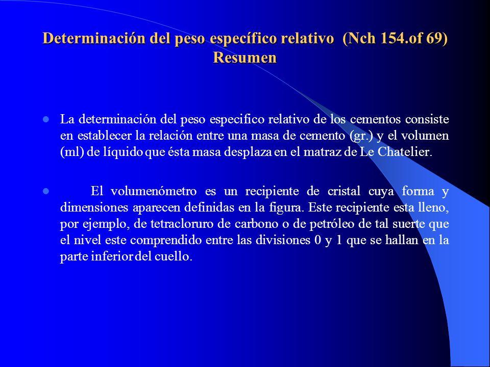 Determinación del peso específico relativo (Nch 154.of 69) Resumen