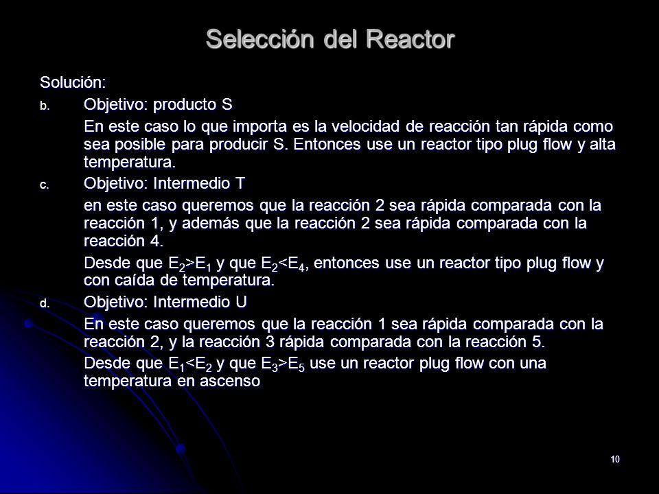 Selección del Reactor Solución: Objetivo: producto S