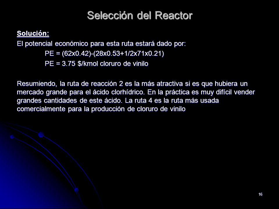Selección del Reactor Solución:
