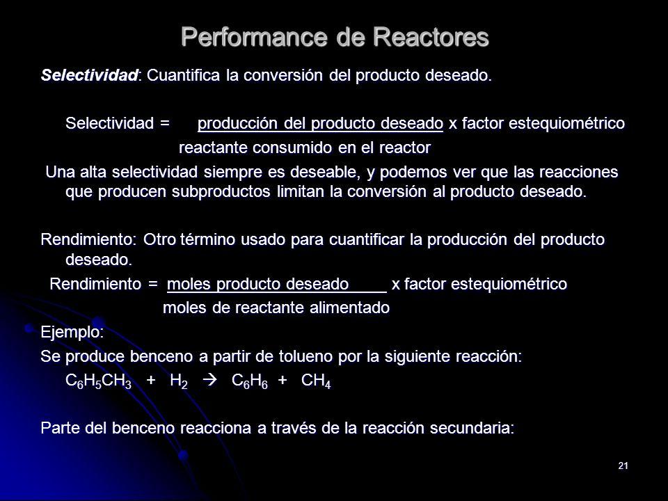 Performance de Reactores