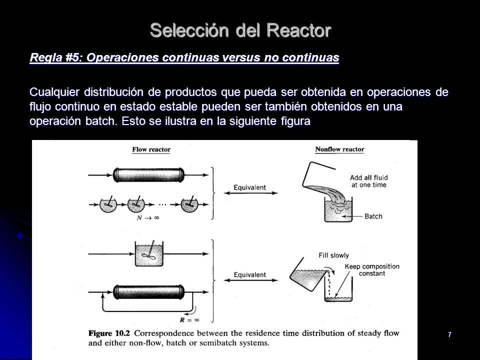 Selección del Reactor Regla #5: Operaciones continuas versus no continuas.