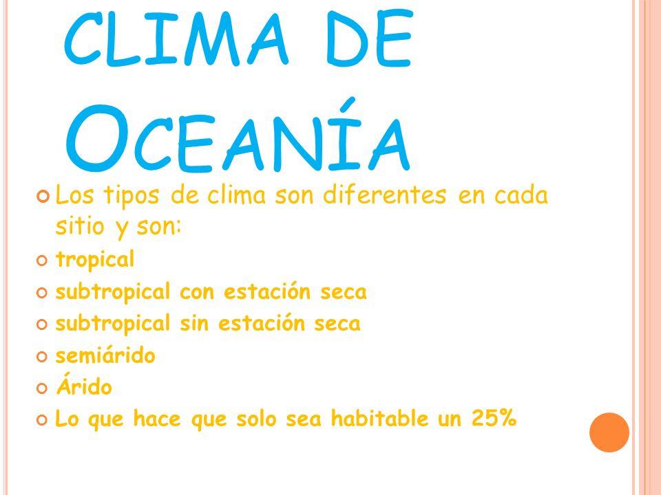 clima de OceaníaLos tipos de clima son diferentes en cada sitio y son: tropical. subtropical con estación seca.