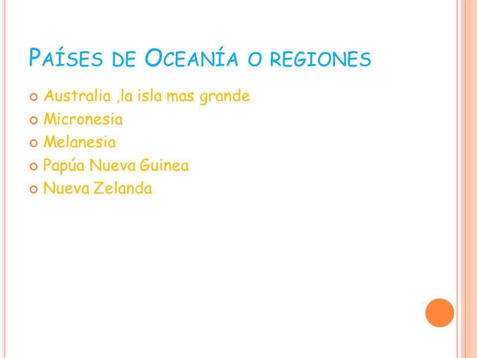 Países de Oceanía o regiones