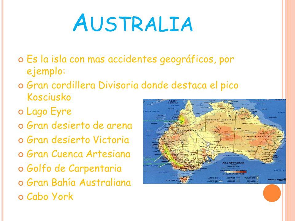 Australia Es la isla con mas accidentes geográficos, por ejemplo: