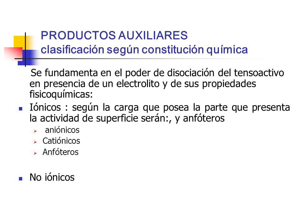 PRODUCTOS AUXILIARES clasificación según constitución química