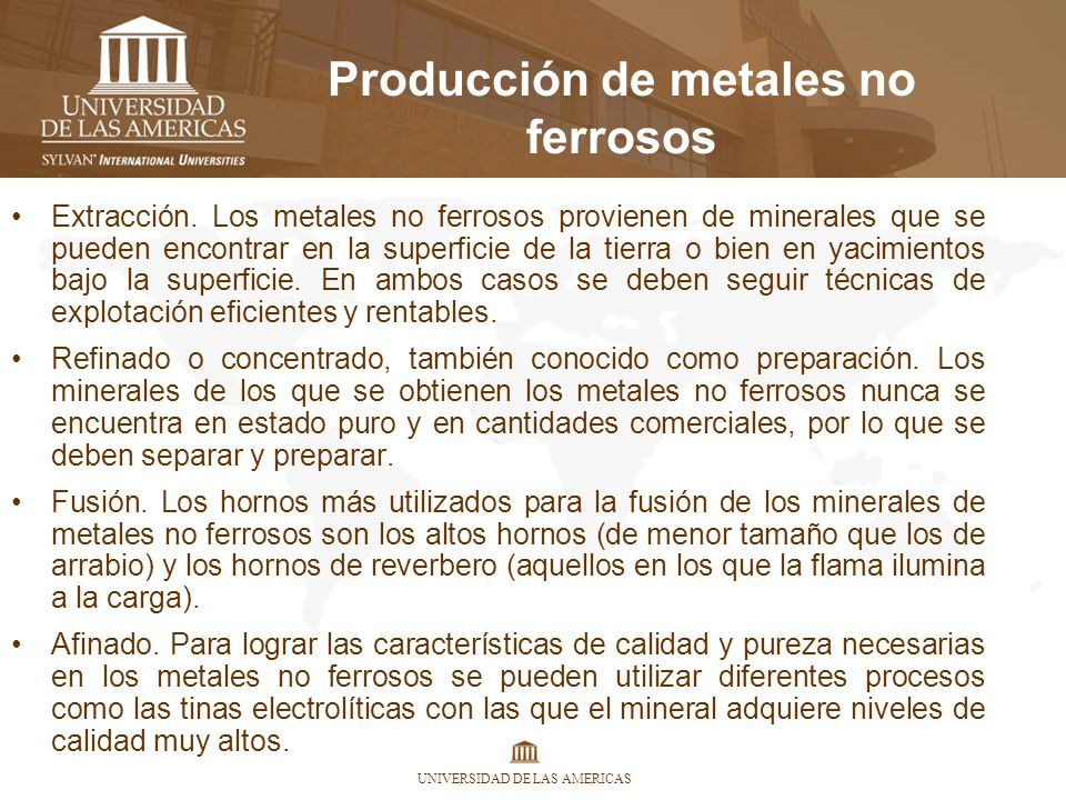 Producción de metales no ferrosos