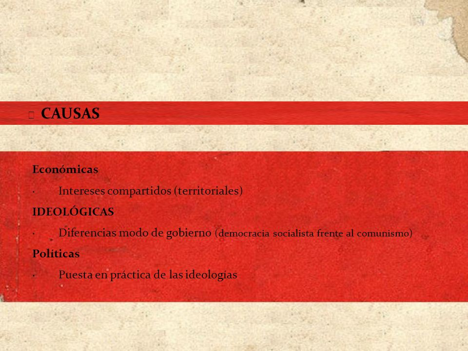 · Intereses compartidos (territoriales) IDEOLÓGICAS
