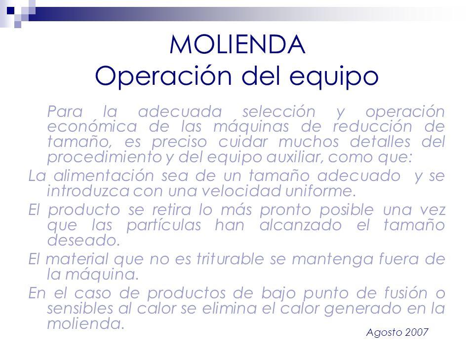 MOLIENDA Operación del equipo