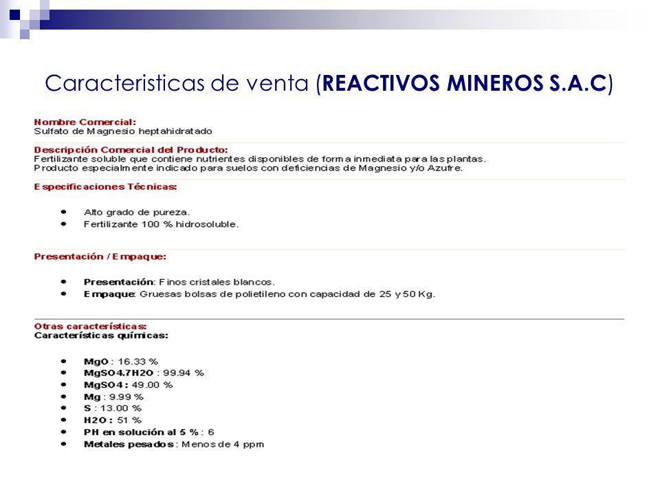 Caracteristicas de venta (REACTIVOS MINEROS S.A.C)