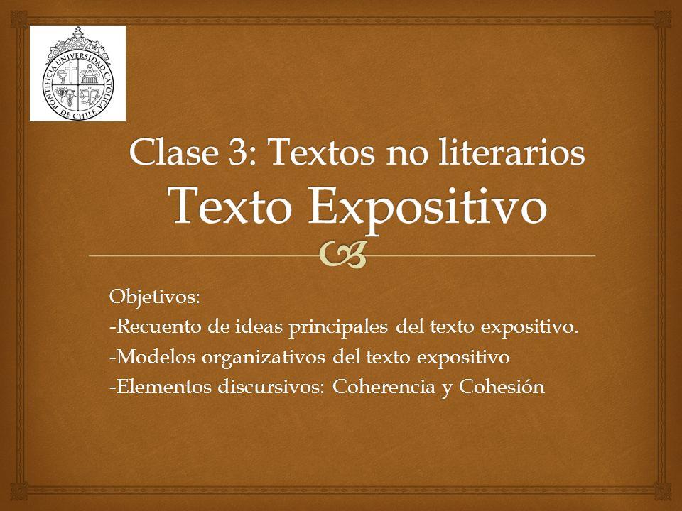 Clase 3: Textos no literarios Texto Expositivo